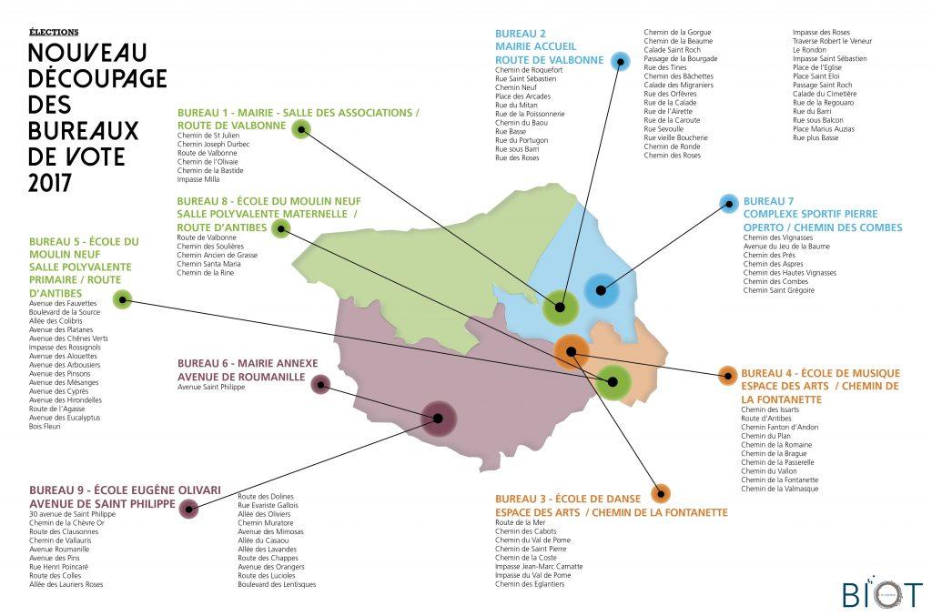 Carte des découpages des breaux de vote