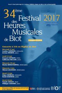 Affiche Festival des Heures Musicales de Biot 2017