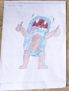 dessin d'enfant Monster Man Kids Design Glass