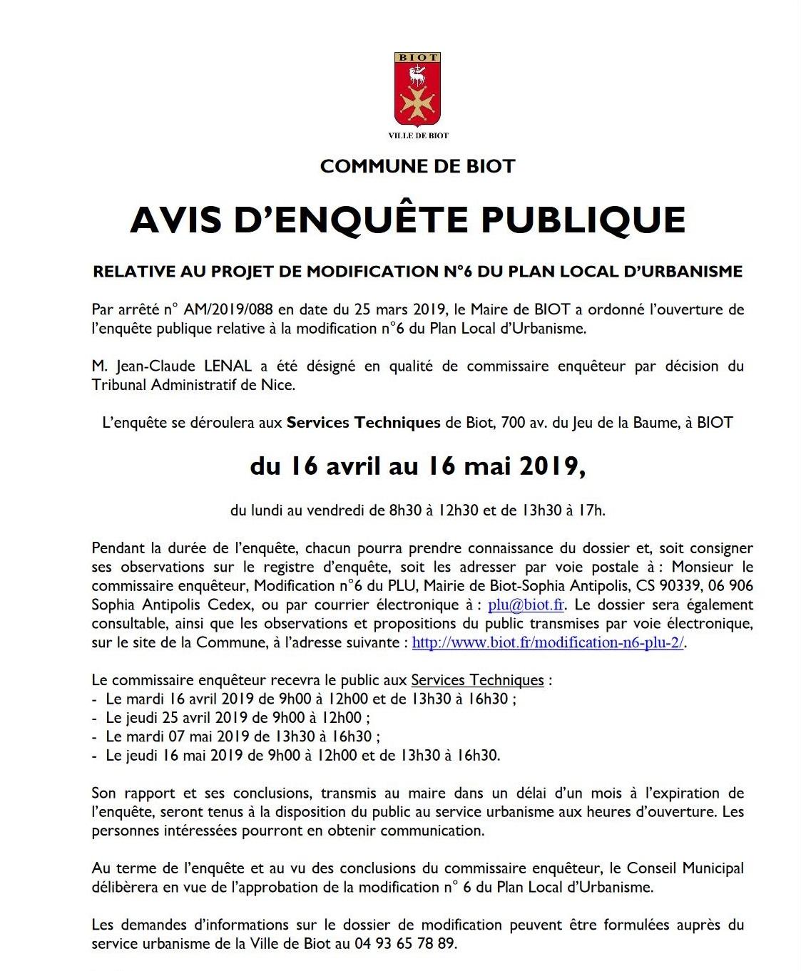 Avis d'enquête publique Biot modification N6 du PLU