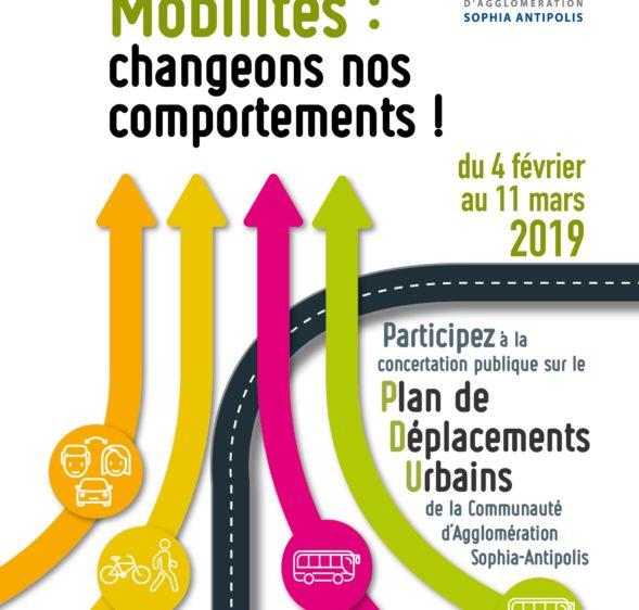 Révision du Plan de Déplacements Urbains de la Communauté d'Agglomération Sophia-Antipolis : concertation publique du 4 février au 11 mars 2019