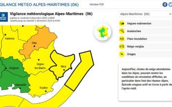 Vigilance jaune en cours sur les Alpes-Maritimes